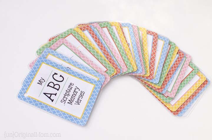 Free printable ABC scripture memory cards for preschoolers