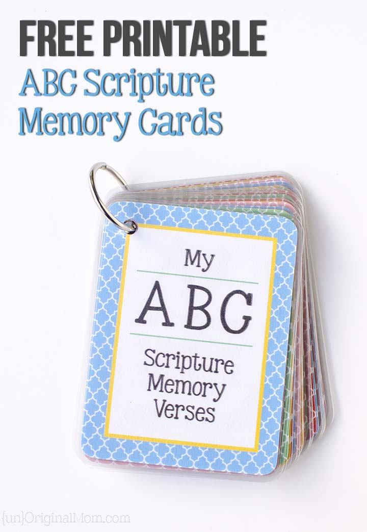 printable abc scripture memory cards unoriginal mom