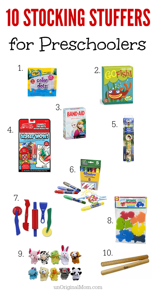 A great list of 10 stocking stuffers for preschoolers - all under $10!