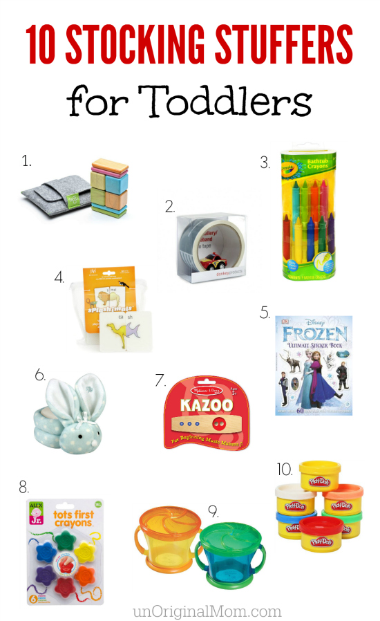 A great list of stocking stuffers for Toddlers ages 18-36 months - quality, useful items that will actually get used!