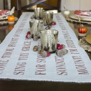"""""""Come Thou Fount"""" Stenciled Burlap Table Runner"""