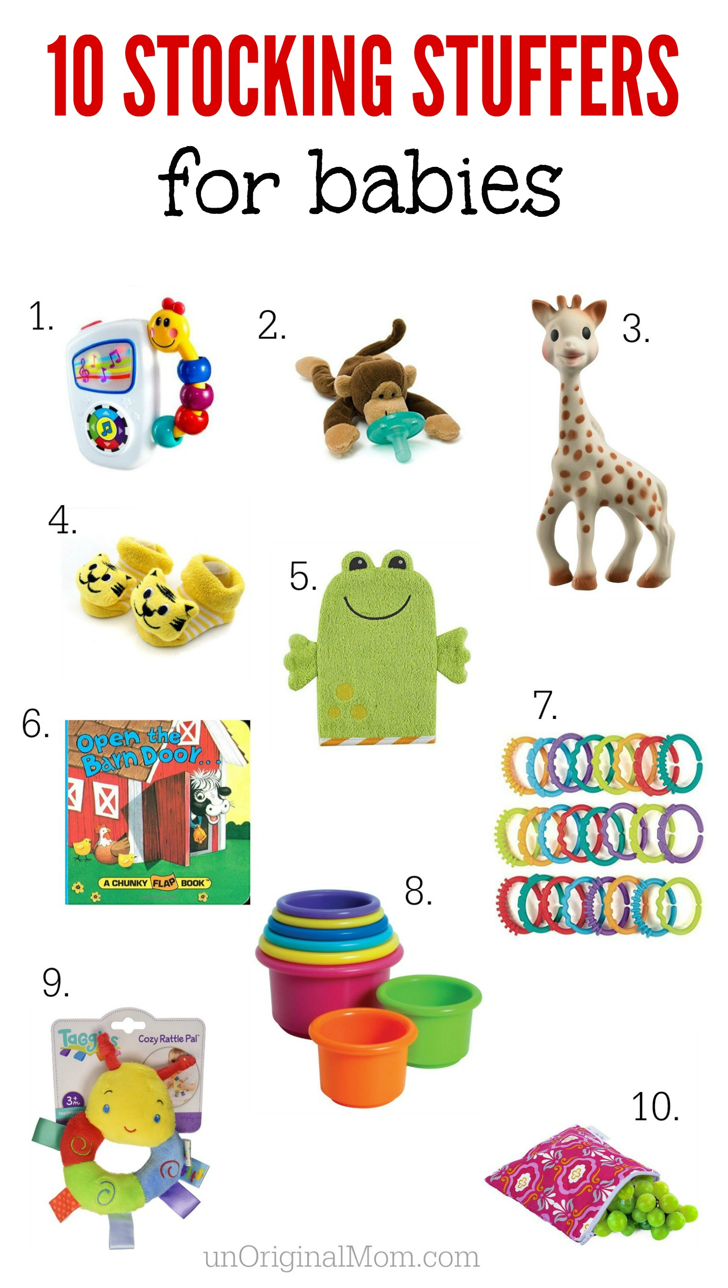 a great list of stocking stuffer ideas for babiesnon electronic