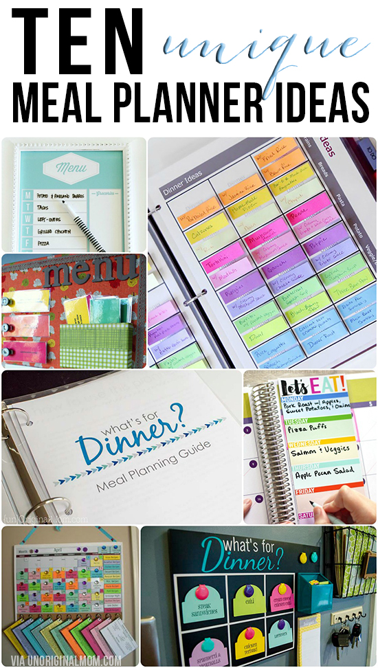 A great list of 10 unique meal planner ideas - whether you're super organized or just looking for something simple, there is something for everyone in this list!