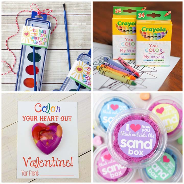 Free printable non-candy valentines - art supplies