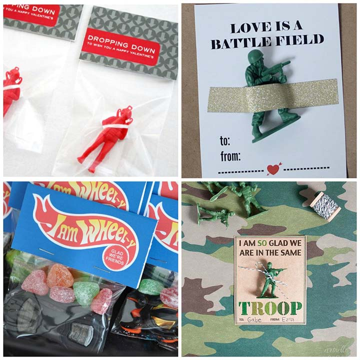 "Free printable non-candy valentines - ""boy"" valentine ideas"