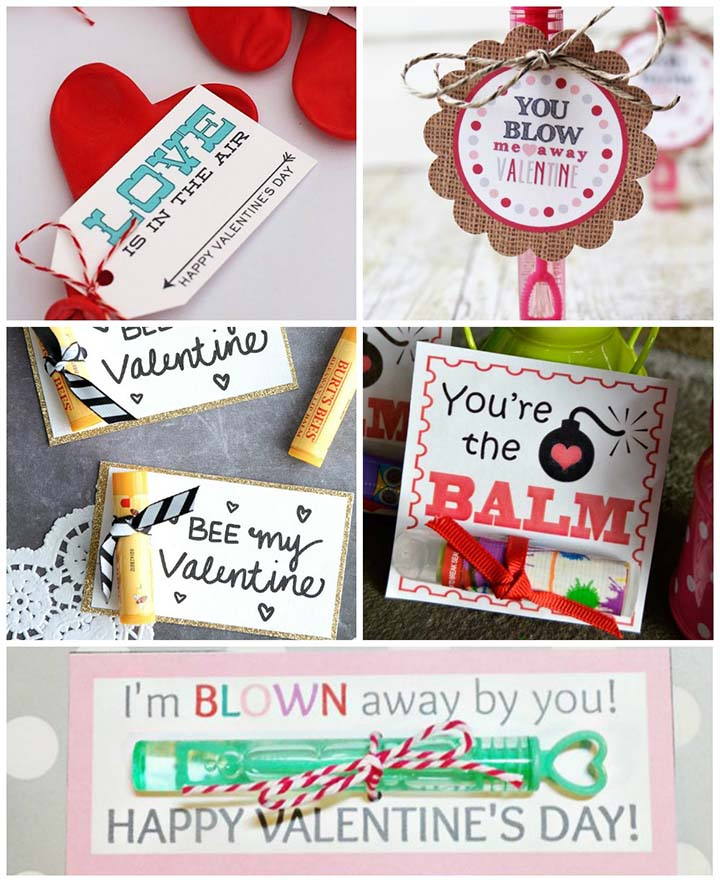 Free printable non-candy valentines - bubbles, balms, and balloons