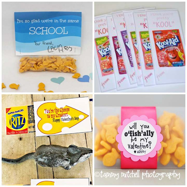 Free printable non-candy valentines - snack food valentines