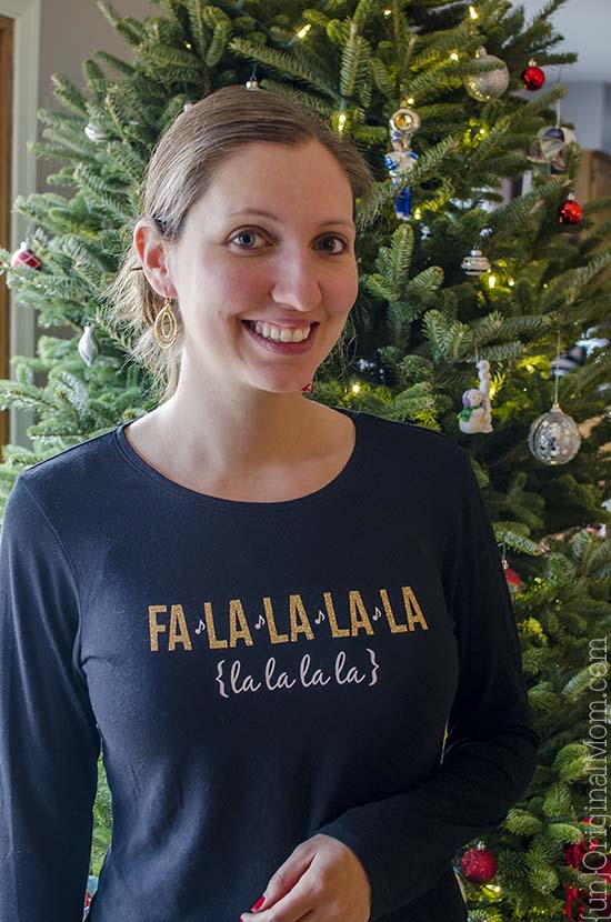 Fa la la Christmas Shirt with Glitter HTV - unOriginal Mom