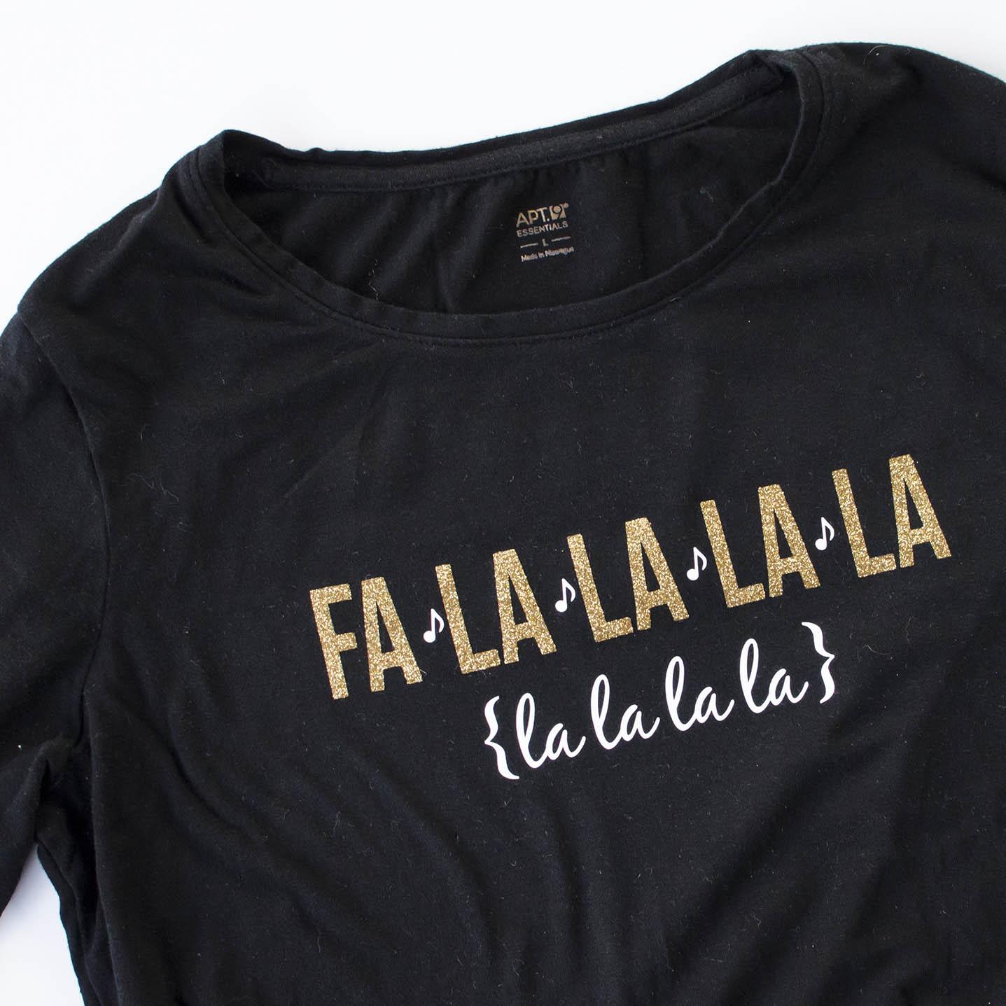 Fa la la Christmas Shirt with Glitter HTV - unOriginal Mom