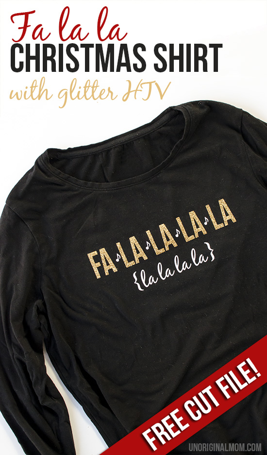 "Glitter heat transfer vinyl ""fa la la"" Christmas shirt - so cute, and perfect for caroling or Christmas parties! Free cut file to make your own."