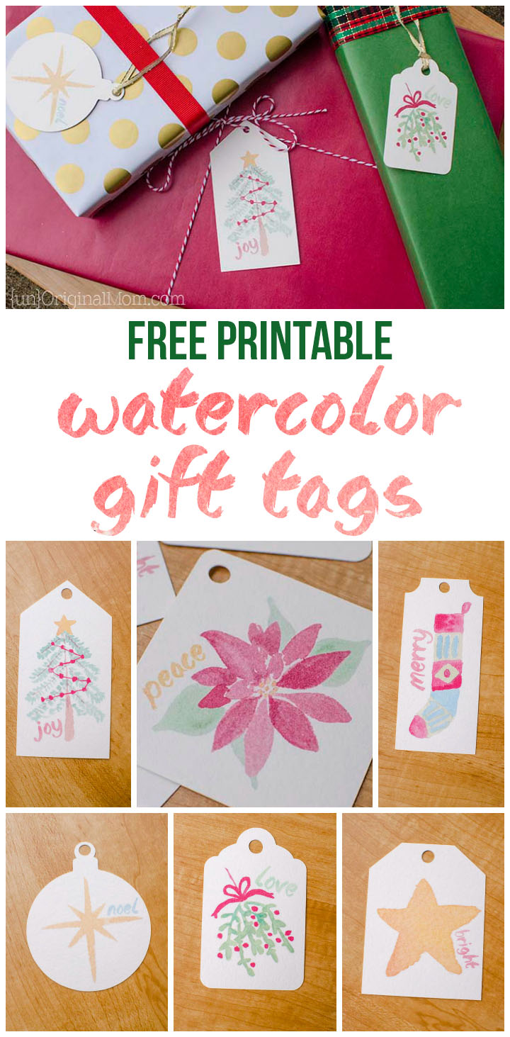 photograph regarding Christmas Tag Free Printable named Totally free Printable Watercolor Present Tags for Xmas
