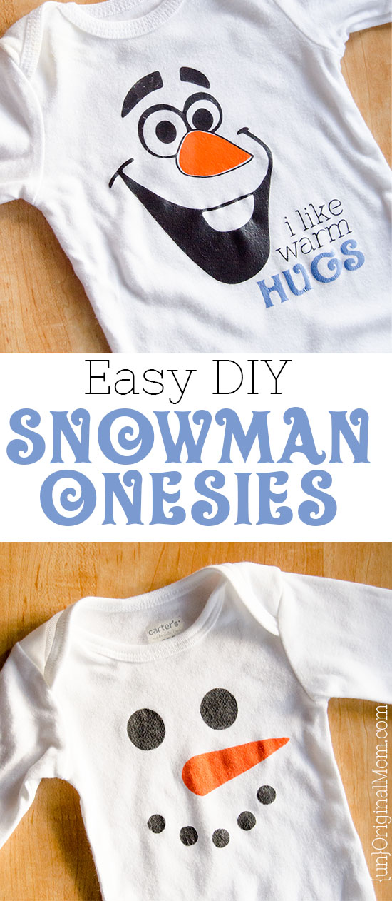 "2 easy ideas for snowman onesies - including a super cute Olaf ""I like warm hugs"" onesie! Perfect for a winter baby."
