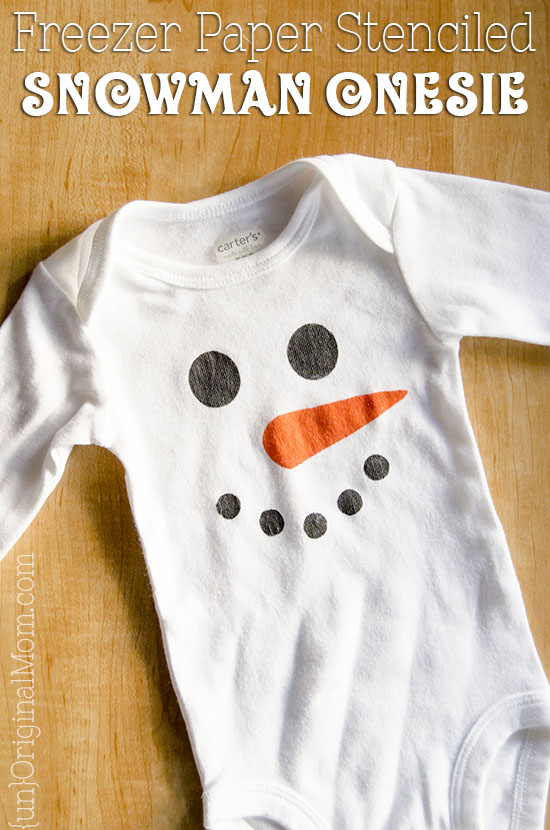 Simple snowman onesie made with a freezer paper stencil. So easy, and perfect for a winter baby! Plus it's gender neutral
