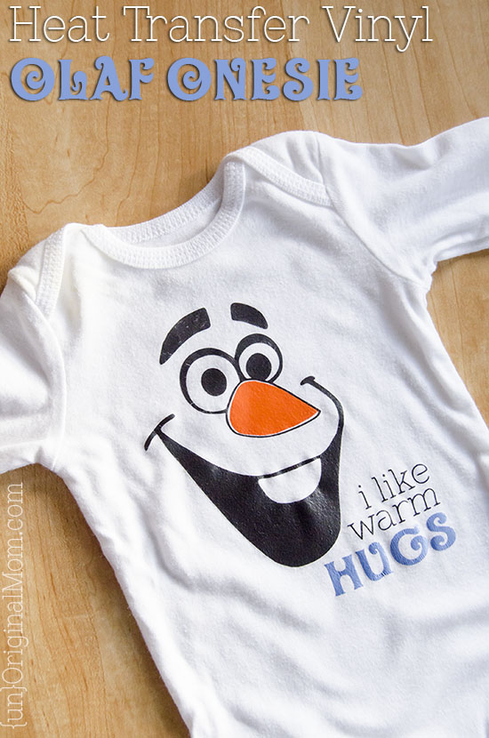 "Adorable Olaf ""I like warm hugs"" snowman onesie, made with heat transfer vinyl."