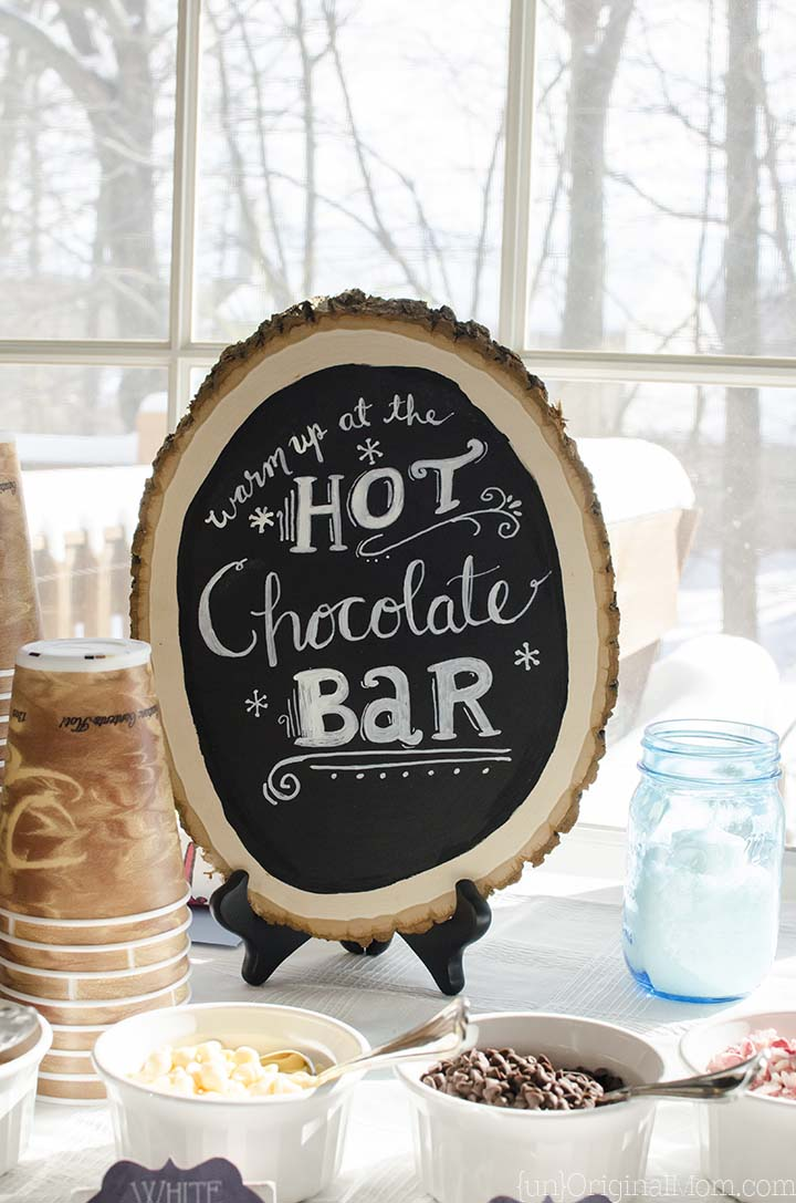 Hot Chocolate Bar with a hand lettered sign