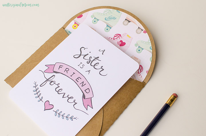 "Send a valentine to your sister - or a note ""just because!"" These free printable note cards are so cute and easy to print and mail."