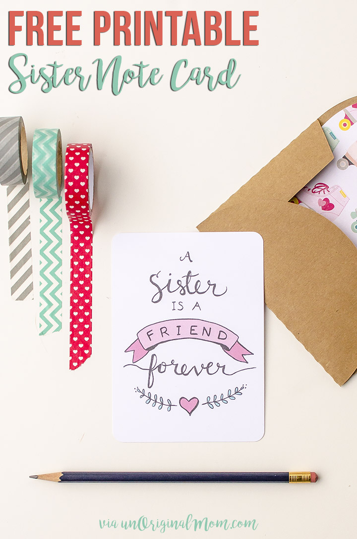 Free Printable Sister Valentine Note Card  unOriginal Mom