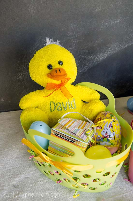 Cute little Easter Gift Baskets with personalized heat transfer vinyl stuffed animals.