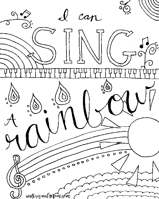 I Can Sing A Rainbow Free Printable Adult Coloring Page
