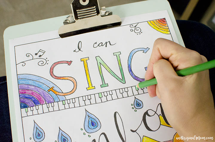 """I Can Sing a Rainbow"" free printable adult coloring page - perfect for a music lover!"