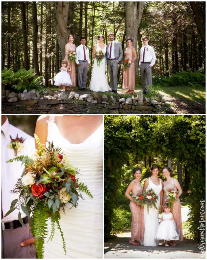 Bridal party and bouquet for a beautiful woodland wedding. Love those lace dresses!