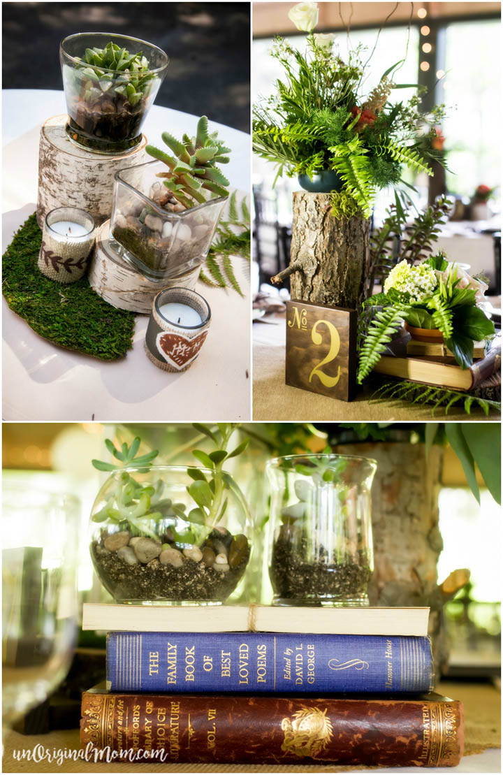 Elements from a stunningly beautiful enchanted forest DIY woodland wedding.