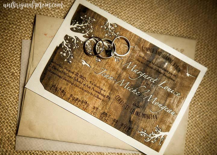 DIY wood veneer invitations for a woodland wedding. These are amazing!!
