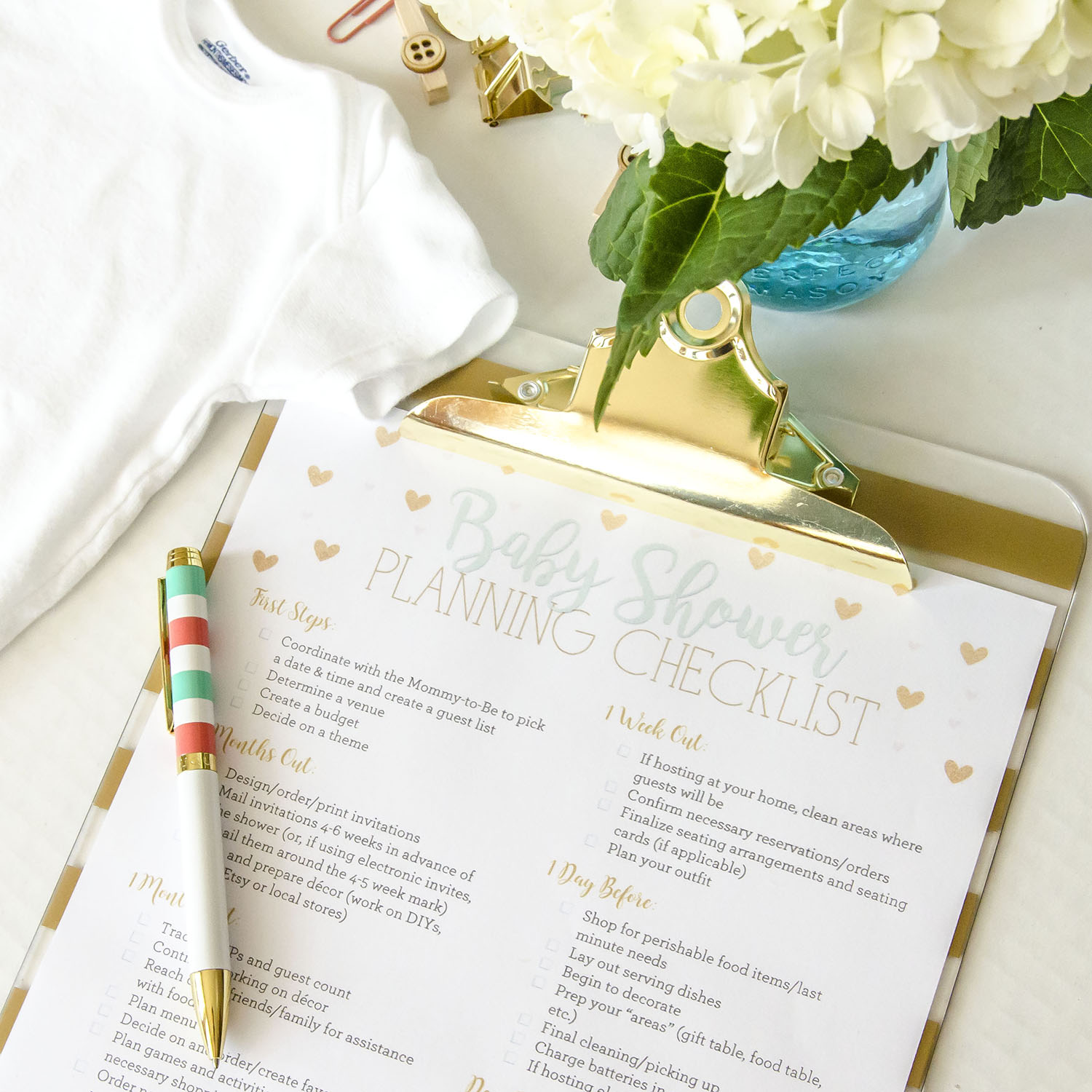 It is a graphic of Shocking Printable Baby Shower Checklist