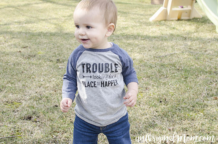 "So cute - ""trouble looking for a place to happen"" toddler t-shirt, plus a free cut file for Silhouette machines."