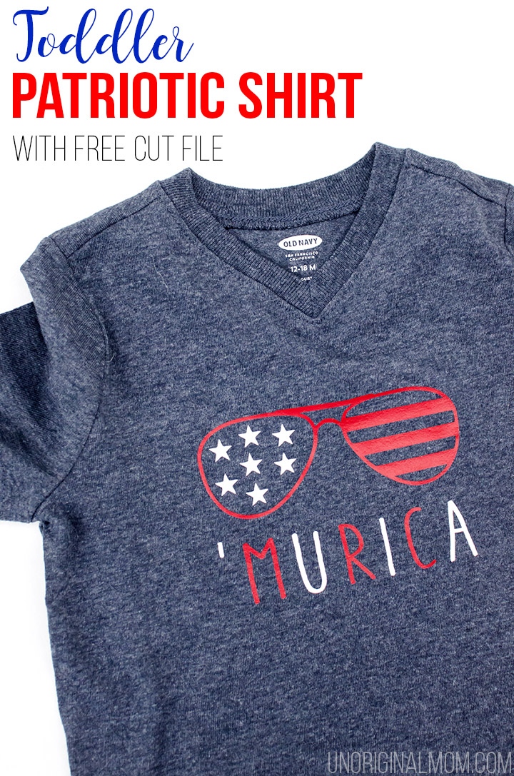 'Murica toddler t-shirt - perfect for the 4th of July! Free cut file to whip one up with your Silhouette.