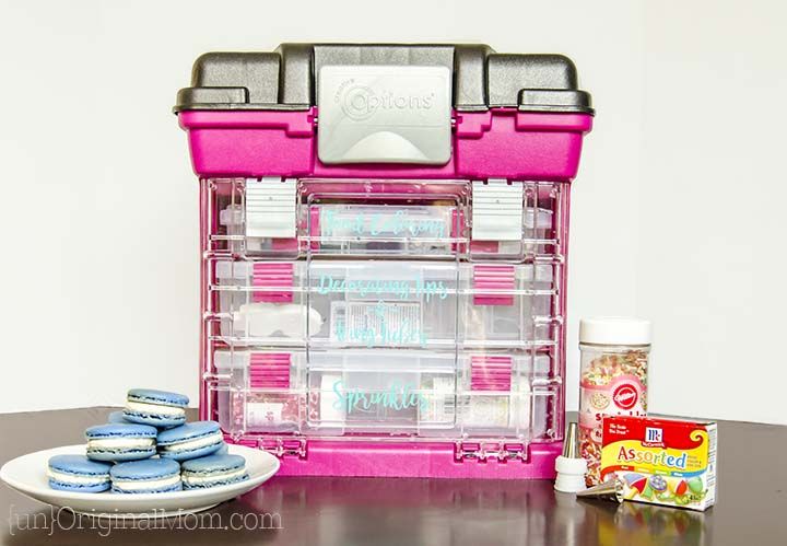 Got lots of baking and cake decorating odds and ends? Sprinkles, decorating tips, food coloring, pastry bags...keep them all organized with this great organization hack!