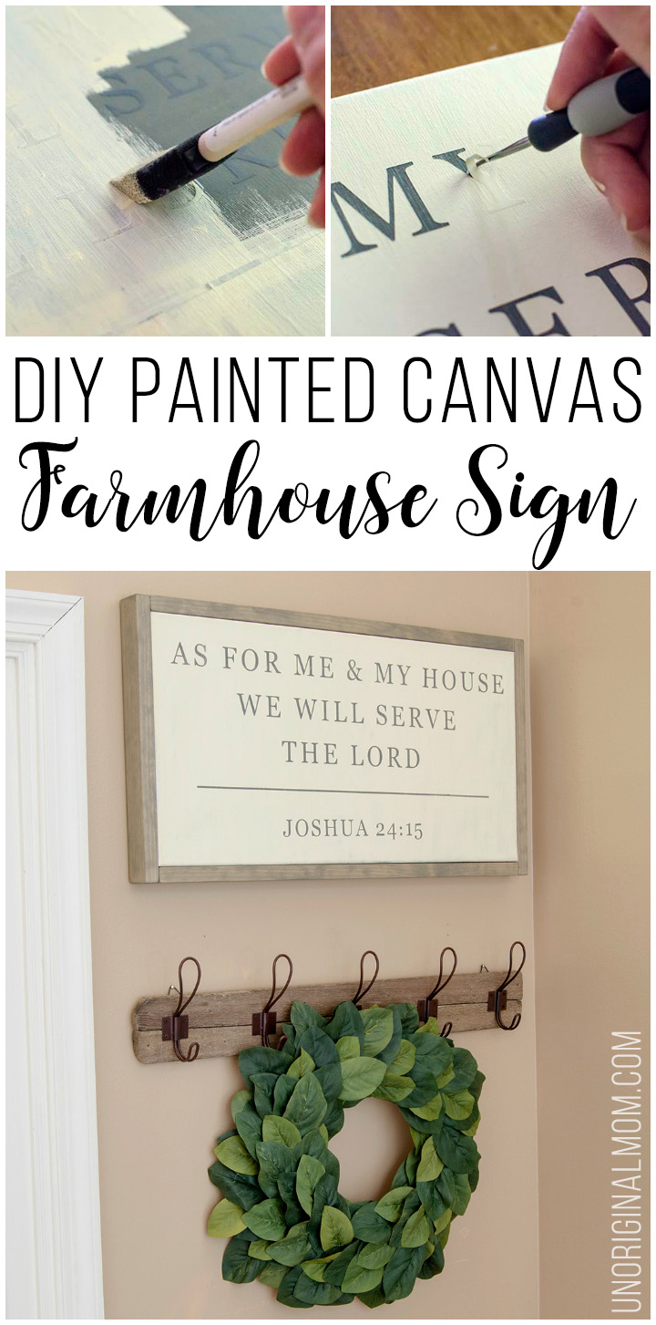 Love this farmhouse sign made by stenciling on a canvas. Great Magnolia Market knockoff, perfect for DIY farmhouse style decor! Joshua 24:15 #farmhousesign #DIY #joshua2415