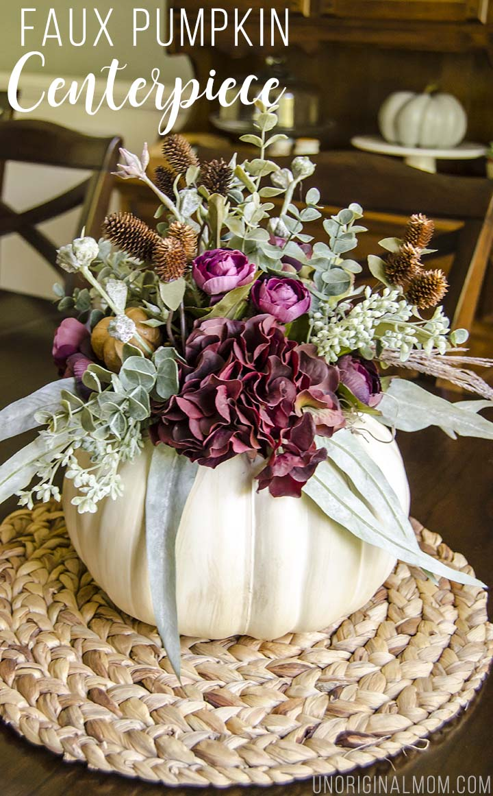 Tutorial to make your own faux pumpkin floral centerpiece. Beautiful!