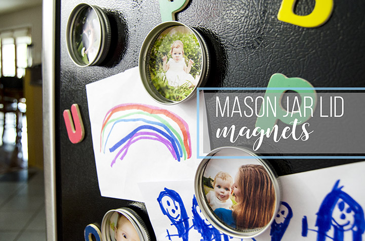 Upcycle your leftover mason jar lids with these super cute mason jar lid photo magnets! They'd make great inexpensive DIY gifts too!
