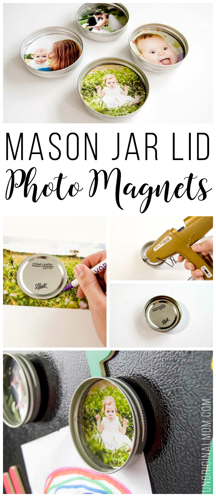 Upcycle your leftover mason jar lids with these super cute mason jar lid photo magnets! They'd make great gifts too! #handmadegiftidea #masonjars #magnets #diygifts
