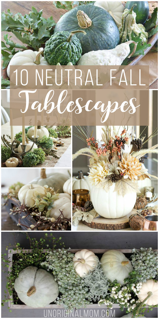 Beautiful and inspiring neutral fall tablescapes using lots of natural elements, white pumpkins, greens, browns, and grays. Great for early fall decorating that will last all the way until Thanksgiving.