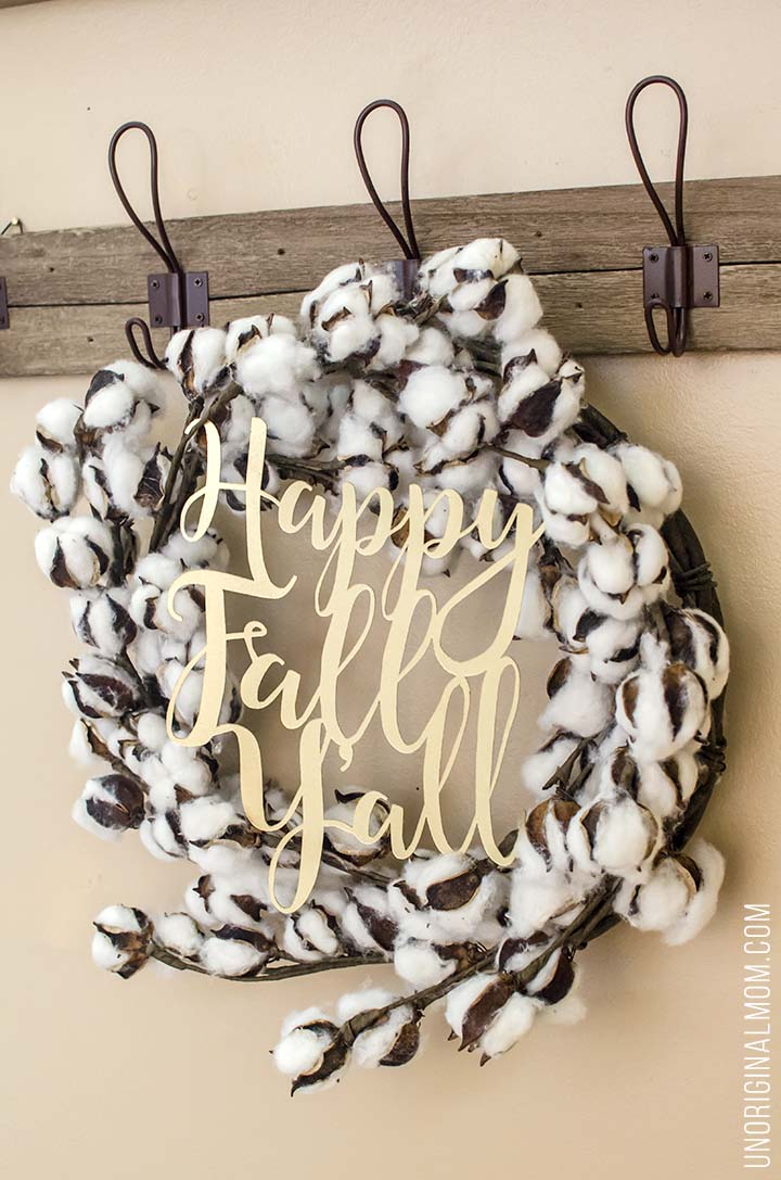 "Love this rustic glam ""Happy Fall Y'all"" cotton wreath! There's a free Silhouette cut file, too!"