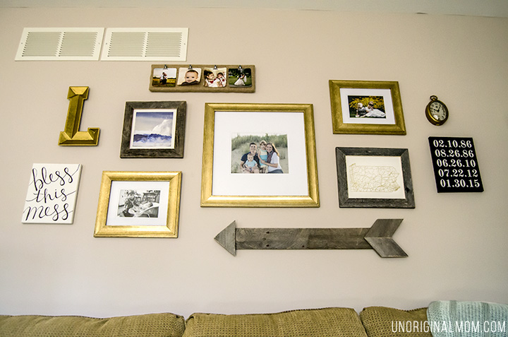 Above the sofa living room gallery walls - great ideas, including a pallet arrow!