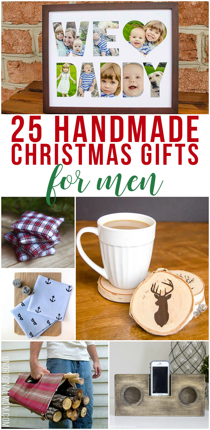 Great list of 25 handmade Christmas gift ideas for men. There is a DIY gift idea for any guy in your life on this list! #giftsformen #thingstheyllactuallylike #christmas #handmadegifts #handmadegiftsformen #myhandmadechristmas