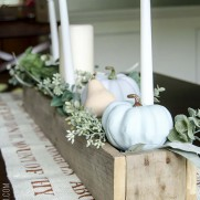 Fall Centerpiece with Chalk Painted Pumpkins