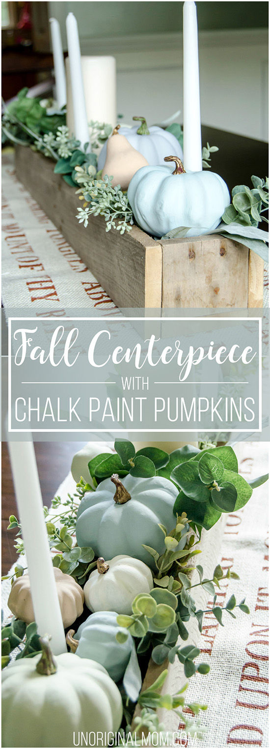 Beautiful pallet box fall centerpiece filled with chalk painted pumpkins. Great neutral fall decor that will last through Thanksgiving! #falldecor #thanksgiving #thanksgivingtablescape #centerpiece