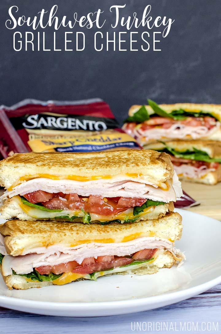 Delicious variation on a classic grilled cheese - a southwest turkey grilled cheese with chipotle mayo and colby pepper jack cheese. Yum!