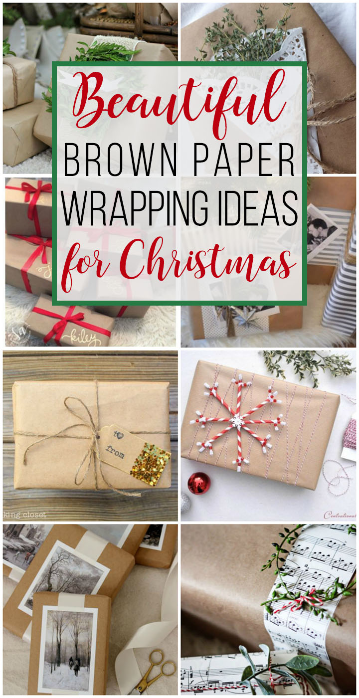 Love these ideas for dressing up brown paper packages at Christmas! Save money on wrapping paper and still have the prettiest gifts under the tree. #brownpapergiftwrap #brownpaper #giftwrapideas #christmas #myhandmadechristmas