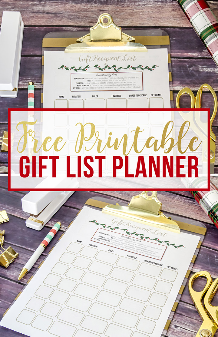 Decide on the perfect handmade gift to create for everyone on your list with this free printable Christmas gift list planner!