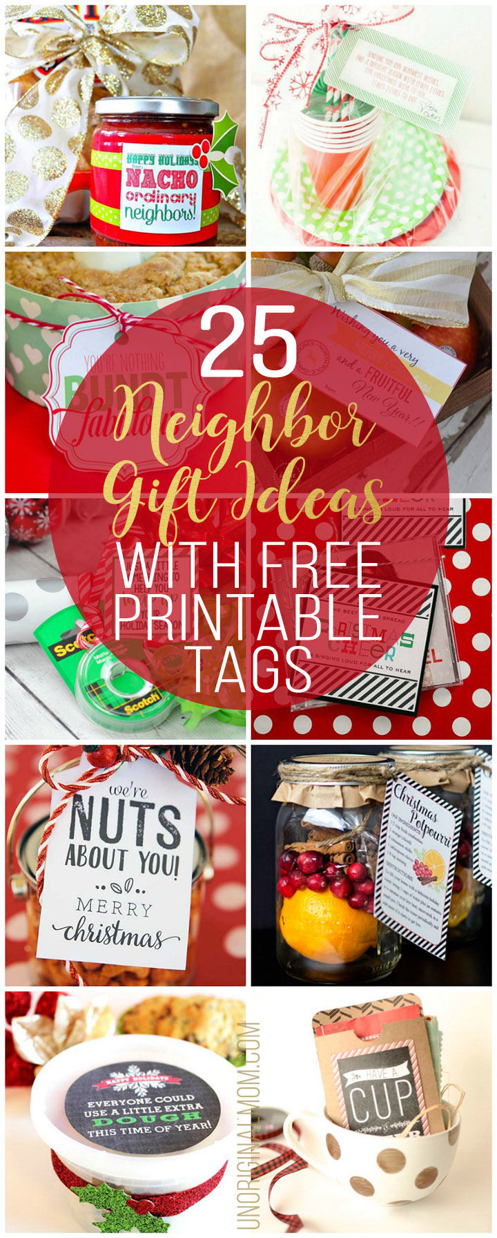 Making neighbor gifts are so easy with these clever and fun ideas - and each one has a free printable! Now to decide which neighbor gift printable tag to use... #handmadechristmas #neighborgifts #freeprintables #neighborgiftideas #teachergifts #myhandmadechristmas