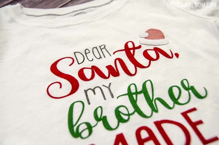 """Dear Santa"" Brother-Sister shirts - such cute sibling christmas shirts! There's a free Silhouette cut file, too!"