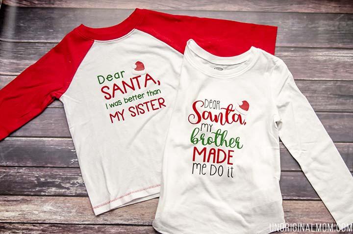 Quot Dear Santa Quot Brother Sister Shirts Unoriginal Mom
