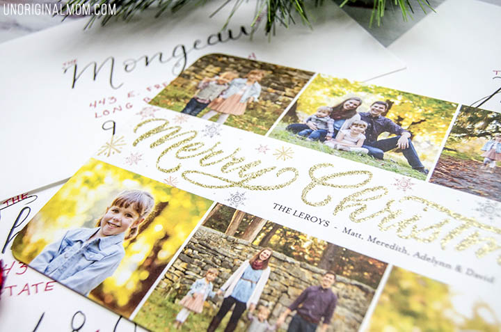 Glitter Christmas Cards - these family Christmas cards from Shutterfly are so pretty!