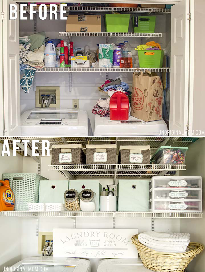 Organizing Before And After: Multi-Purpose Laundry Closet Organization Solutions