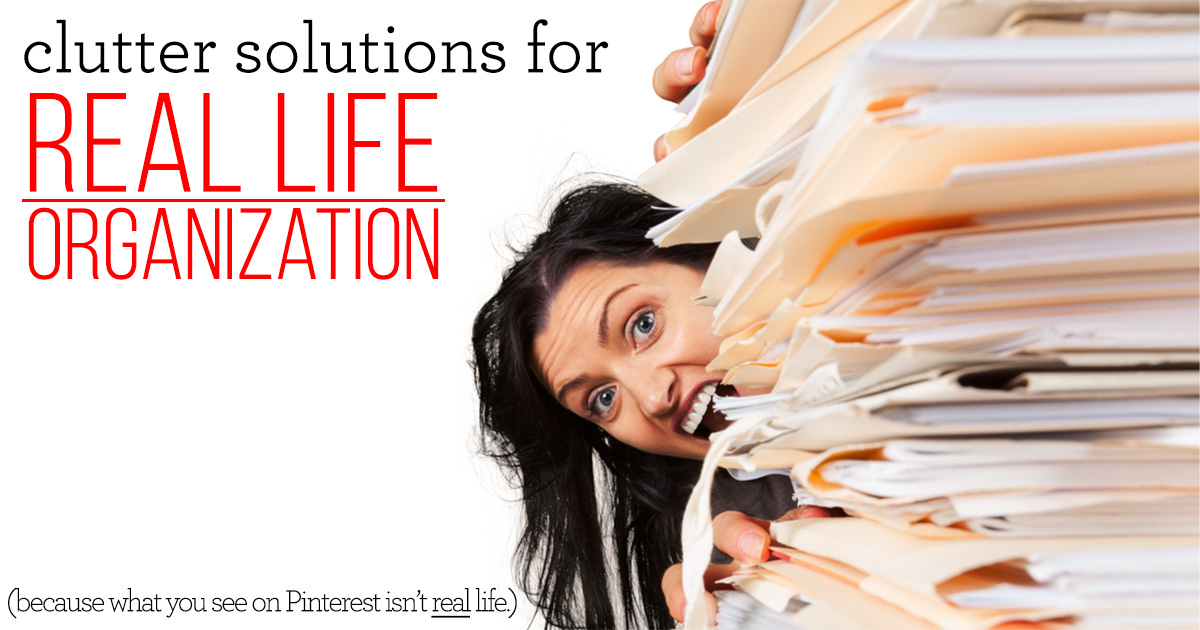 It's time to stop comparing yourself to magazine worthy images of unrealistic organization solutions. Here are two clutter solutions for REAL LIFE organization - for the everyday moms!